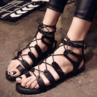 Gladiator Womens Flat Thong Flip Flop Lace Up Cross Strappy Roma Sandals UK2.5-6
