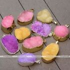 Natural Druzy Rock Crystal Quartz Clusters Geode Stone Gems Pendant for Necklace