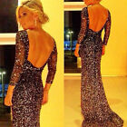 2015 Hot Sexy Women Sequins Lace Backless Mermaid Prom Cocktail Gown Long Dress