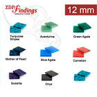 6pcs x Square 12x12mm Flat Gemstones For Your Choice (12SQFL)