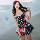 One Piece Black Star Cut-Out Skirted Swimsuit Swimwear Tankini Top Swim Dress