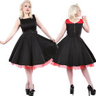 Hearts & Roses Clara Belted Dress Red and Black Vintage Rocker Pinup 50's Swing