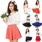 Womens Bust Shorts Skirt Pants Pleated Fashion Candy Color mini Skirts