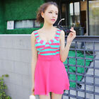 One Piece Striped Skirted Siamese Boxer Swimsuit Swimwear Tankini Top Swim Dress