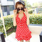 One Piece Halter Neck Polka Dot Skirted Swimsuit Swimwear Tankini Top Swim Dress