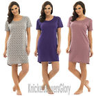 Ladies Star Burnout Jersey Nightdress Nightie Night Dress Size 8 10 12 14 16 18