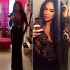 New Summer Women Sexy V-neck Lace Nightclub Dress SideSplit Black Party Ball Gow