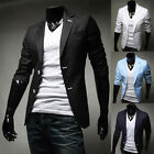 Korean Mens Fashion Coat Slim Fit Dress Coats Designer Jackets Two Button Blazer