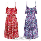 Ladies Leaf Print Strappy Sleeveless Sundress Summer Beach Dress Size 8 - 22