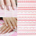 Beauty 3D Pink Lace Nail Art Tips Sticker Decal Wraps DIY Manicure Decorations