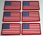 6 UNITED STATES Flag Military Patch With VELCRO® Brand Fastener Red Border #92