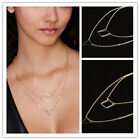 Chic Women Triangle Geometry Charms 2 Layers Gold Chain Fashion Necklace