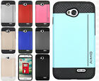 LG Optimus L70 Hard Impact NEST HYBRID CARD Kickstand Rubber Case + Screen Guard