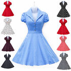 New Ladies VTG 1940's 50's style Blue Polka Dot Rockabilly Pinup Tea Swing Dress