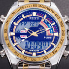 Mens Quartz Digital LCD Date Alarm Analog Wrist Watch Stainless Steel Waterproof