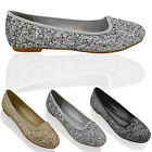 WOMENS GLITTER FLATS SLIP ON LADIES BALLERINA BRIDAL PROM PARTY PUMPS SHOES SIZE