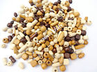 100 OR 200 - WOODEN MIXED SIZE & SHAPE WOOD BEADS CRAFT JEWELLERY DOLLS HAIR
