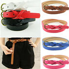 Women Leather Thin Narrow Skinny 1.7cm Wide Waist Belt Lady Waistband Twist Girl