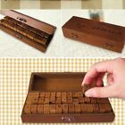42pcs Vintage Wooden Box Case Rubber Stamps Set Alphabet Letters Number Craft LG