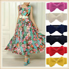 Womens Elastic Decorative Bow Snap Button Belts Wide Waistband For Summer Dress