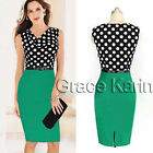 Womens Polka Dot V Neck Top Office Bodycon Skirt Pin Up Swing Dress Size XXL ~ S