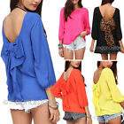 Korean Fashion Women's Loose Chiffon Tops Long Sleeve Shirt Casual Blouse S-XXL