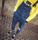 NEW Hot Mens Denim Bib Overalls Antique Wash Blue Suit Mens Pants Trousers Jeans