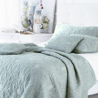 Sashi Bed Linen Riviera 100% Cotton Embroidered Quilted Bedspread, Duck Egg Blue