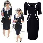 ON SALE New Ladies Dress Office Work Pencil BodyCon Smart Dress Black Size L~XS