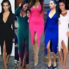 New Women Sexy Deep V-Neck Bodycon Dress Lady Long Sleeve Clubwear Bandage Dress