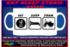 "Personalised ""EAT SLEEP STEAM"" MUG for traction engine roller rally lorry wagon"