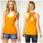 KAREN MILLEN ORANGE MACRAME CUT SMART DAY CASUAL JERSEY TSHIRT TOP VEST SZ 8-16