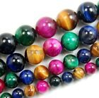 """4mm 6mm 8mm 10mm 12mm 14mm Natural Tiger's Eye Gemstone Round Spacer Beads 15.5"""""""