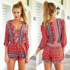 Sexy Women Ladies Bohemia V Neck Playsuit Summer Casual Jumpsuit Romper Trousers