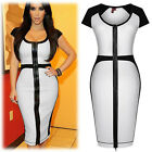 PLUS Size S~2XL White OL Women Full Zip Cocktail Evening Prom Party Pencil Dress