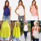 New Women Lace Floral Sexy Backless Casual Loose Shirt Top Girl Blouse 4 Colors