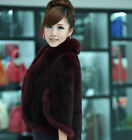 Vintage Trend Cape Womens Real Knitted Mink Fur Shawl Warm Wrap With Fox Collar