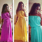 New Summer Women Sexy Off-shouler Long Party Dress Bohemian Chiffon Maxi Dress