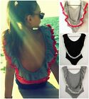 Sexy Women Open Backless Tassel Ruffled Stretch Bodysuit Tops Blouse Club Casual