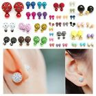 1pair Celebrity Double Crystal Pearl Two Sided Earring Stud Pin Fashion Jewellry