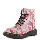 TUK Goth Punk Gothic Pink Skulls & Roses Combat Boots Floral Ankle Boot 7 Eyelet