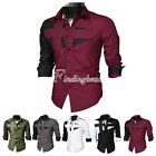 Men's Fashion Cotton Fashion Casual Long Sleeve Button-Front Shirts Tops MC0016