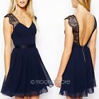 New Sexy Women Backless Lace Chiffon Prom Gown Cocktail Party Evening Mini Dress