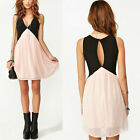 Sexy Women Girls Hollow Back Club Cocktail Party Evening Mini Dress Pink+ Black