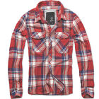 BRANDIT VINTAGE STYLE CHECK COTTON FLANNEL SHIRT MENS LONG SLEEVE HIKING TOP RED