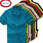 New Summer Mens Solid Casual Shirts Cotton Blend Short Sleeve Shirts
