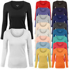 plastikote purple - Women's Long Sleeve Basic Solid Plain Scoop Neck T-shirt Top Tee S,M,L