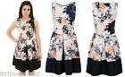 Ladies Floral Leaves Printed Skater Dress Black Stripe Sleeveless Stylish Summer