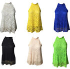 Women Casual Sleeveless Blouses Lace Floral Sexy Backless Loose Shirt Halter Top