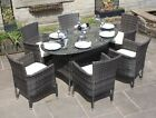 Rattan 6 or 8 Seat Oval Dining Set Outdoor Garden Furniture in Black or Brown